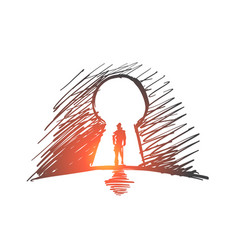 hand drawn man standing in keyhole vector image