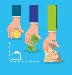 hands with money with bank building vector image