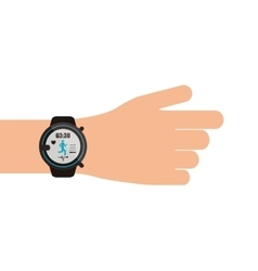 Heartrate wrist tracker on hand icon vector