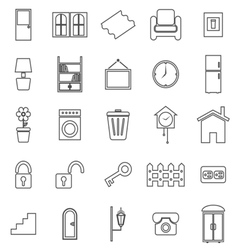 House related line icons on white background vector