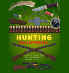 Hunting equipment and weapon cartoon vector
