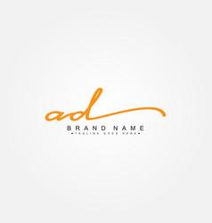 Initial letter ad logo - hand drawn signature logo vector