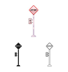 Isolated object of train and station sign set of vector
