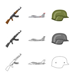 Isolated object of weapon and gun logo set of vector