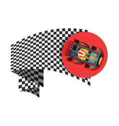 Karting sport symbol with checkered flag vector