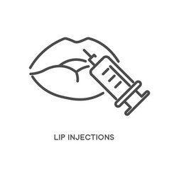 Lip injections cosmetic treatment with syringe vector
