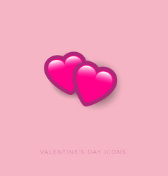 love icon two hearts valentine day button vector image