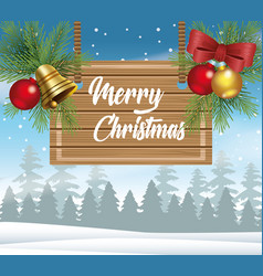 merry christmas card with wooden label in vector image