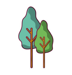 Natural trees with botany icons vector