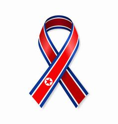 north korean flag stripe ribbon on white vector image