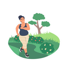 Obesity and weight problems fat woman jogging in vector
