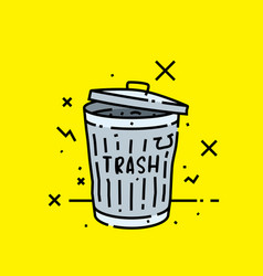old trash can icon vector image
