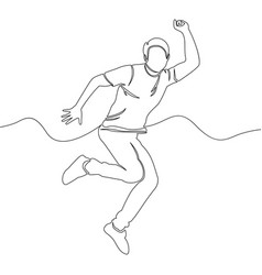 One line drawing man jumping rejoice concept vector