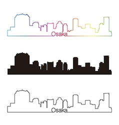 Osaka skyline linear style with rainbow vector