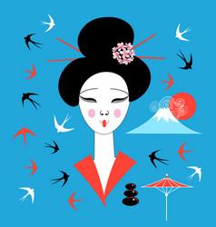 portrait a japanese geisha vector image