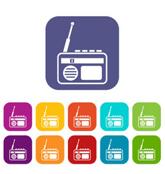 Radio icons set vector