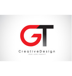 Red and black gt g t letter logo design creative vector