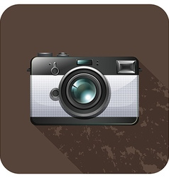 Retro vintage camera on tile vector