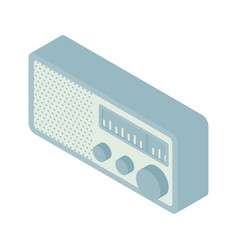 Retro vintage old radio isometic vector