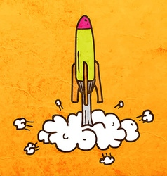 Rocket Taking Off Cartoon vector