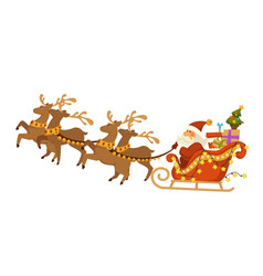 santa claus and deers with sleigh flying over vector image