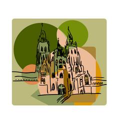 Santiago de compostela in cubism style in beige vector
