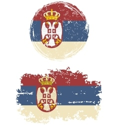 Serbian round and square grunge flags vector
