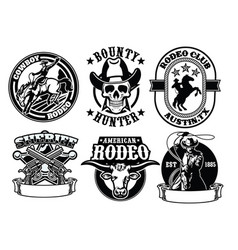 set cowboy badge vector image