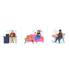 set fat obese people in different situations vector image