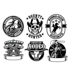 Set of cowboy badge vector