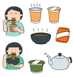 set of noodle vector image
