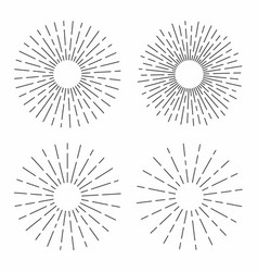 set of vintage sunburst in lines shape linear vector image