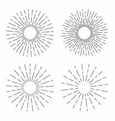 set vintage sunburst in lines shape linear vector image