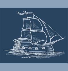 ship or sailboat sketch sea transport sailing or vector image