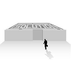 silhouette of businessman walking into maze vector image