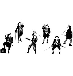 Six silhouettes pirates vector