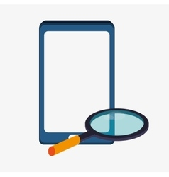 Smartphone lupe and big data design vector