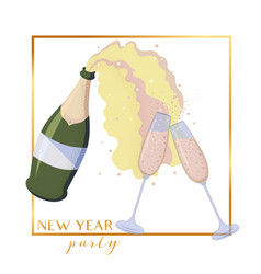 sparkled wine bottle popping and glasses toasting vector image