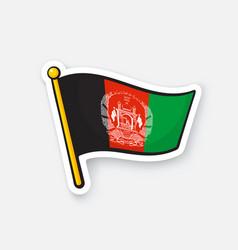 Sticker flag afghanistan on flagstaff vector