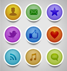 Stitched labels with social web icons vector