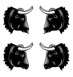 stylized design of black bull head vector image