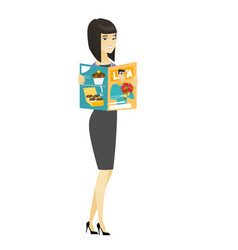 successful asian business woman reading magazine vector image