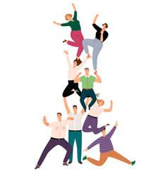 successful people teamwork pyramid happy young vector image