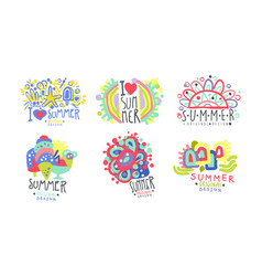 Summer logo original design collection bright vector