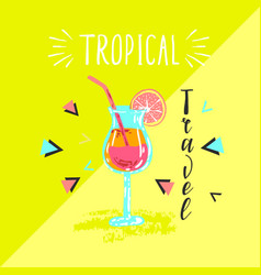 summer poster with cocktail and hand-lettering vector image