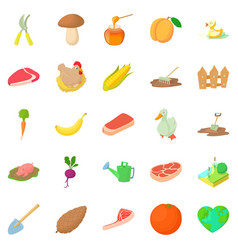 sylviculture icons set cartoon style vector image