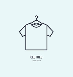 T-shirt on hanger icon clothing shop line logo vector