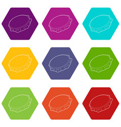 tambourine icons set 9 vector image