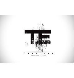 Te t e grunge brush letter logo design in black vector