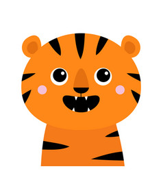 Tiger roaring yawing open mouth fang cute cartoon vector